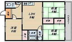 大阪府堺市西区浜寺船尾町東4丁の賃貸マンションの間取り
