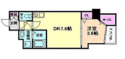Osaka Metro谷町線 南森町駅 徒歩7分の賃貸マンション 2階1DKの間取り
