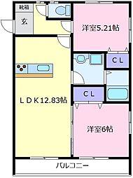 大阪府松原市三宅中3丁目の賃貸アパートの間取り