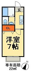 JR外房線 蘇我駅 徒歩18分の賃貸アパート 2階1Kの間取り