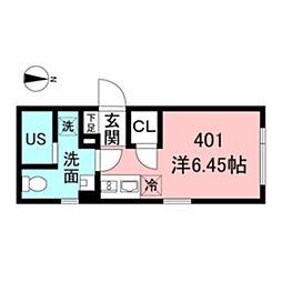 ASTILE新宿III 4階ワンルームの間取り