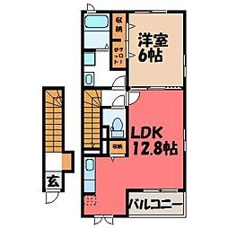栃木県真岡市並木町2丁目の賃貸アパートの間取り