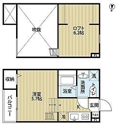 南海高野線 萩原天神駅 徒歩5分の賃貸アパート 1階1Kの間取り