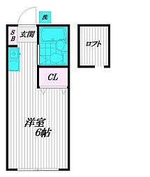 東京都府中市分梅町1の賃貸アパートの間取り