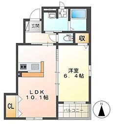 千葉都市モノレール 作草部駅 徒歩15分の賃貸アパート 1階1LDKの間取り