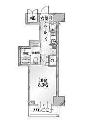 コンシェリア東京 IRIYA STATION FRONT 2階1Kの間取り