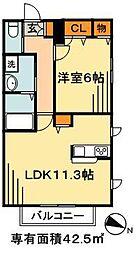 JR武蔵野線 市川大野駅 徒歩14分の賃貸マンション 1階1LDKの間取り