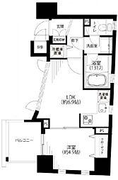 レックス赤坂レジデンス 3階1DKの間取り