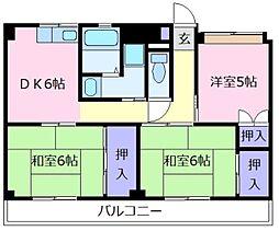 ビレッジハウス城蓮寺1号棟[5階]の間取り