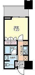 大崎ガーデンレジデンス 4階1Kの間取り