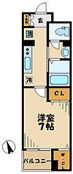 小田急小田原線 読売ランド前駅 徒歩7分の賃貸マンション 4階1Kの間取り