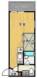 アパートメント・スクエア5番館 2階ワンルームの間取り