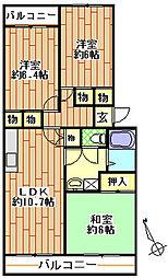 シャルム検見川[2階]の間取り