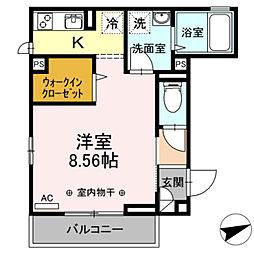 (仮)D-room本木南町B 3階1Kの間取り