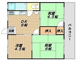 マンション朝霧2号棟[4階]の間取り