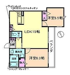 大阪府豊中市北桜塚4丁目の賃貸マンションの間取り
