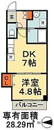 Villa Bonheur 1階1DKの間取り