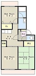 神奈川県大和市上草柳4丁目の賃貸マンションの間取り