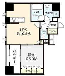 オープンレジデンシア築地 4階1LDKの間取り