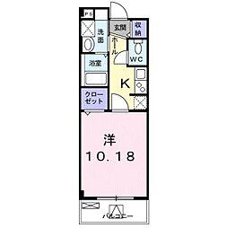 南海高野線 金剛駅 徒歩11分の賃貸マンション 1階1Kの間取り