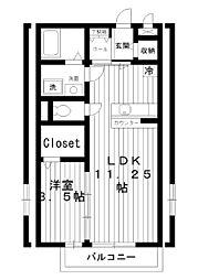 東京都練馬区錦1丁目の賃貸アパートの間取り