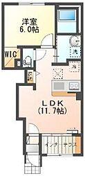 東武越生線 東毛呂駅 徒歩8分の賃貸アパート 1階1LDKの間取り