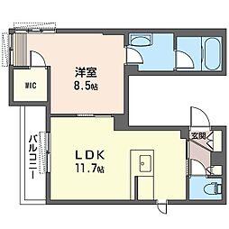 レフィナーダ 3階1LDKの間取り