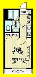 Sophia Ogikubo 2階1Kの間取り