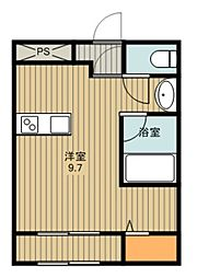 東武東上線 鶴ヶ島駅 徒歩6分の賃貸アパート 2階ワンルームの間取り