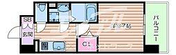 JR大阪環状線 森ノ宮駅 徒歩7分の賃貸マンション 2階1Kの間取り