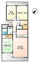 埼玉県三郷市さつき平1丁目の賃貸マンションの間取り