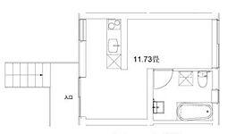 玉川台のアパートメント 1階ワンルームの間取り