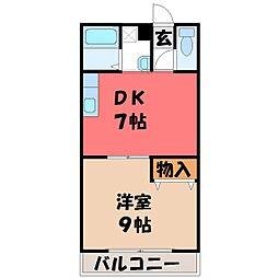 栃木県宇都宮市簗瀬3丁目の賃貸マンションの間取り