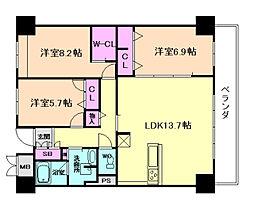 大阪府大阪市港区築港2丁目の賃貸マンションの間取り