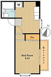 第21クリスタルマンション 2階1DKの間取り