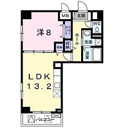 サンフィールド III 4階1LDKの間取り