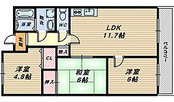 大阪府高石市取石5丁目の賃貸マンションの間取り
