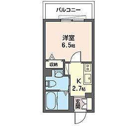 アルカディア横濱 1階1Kの間取り
