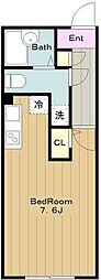 京王相模原線 京王永山駅 徒歩8分の賃貸マンション 4階ワンルームの間取り