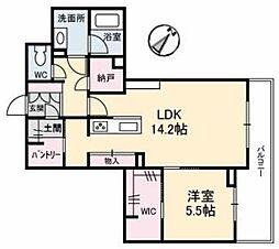 アントゥール B 3階1LDKの間取り