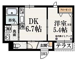 京王線 八幡山駅 徒歩5分の賃貸マンション 1階1DKの間取り