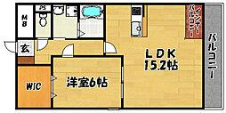 グロワール北江口 3階1LDKの間取り