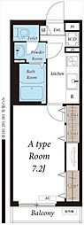 JR常磐線 北松戸駅 徒歩16分の賃貸アパート 3階1Kの間取り