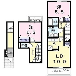 埼玉県八潮市大字古新田の賃貸アパートの間取り