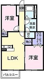 埼玉県草加市松江6丁目の賃貸アパートの間取り