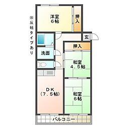 愛知県岡崎市舳越町字宮前の賃貸マンションの間取り