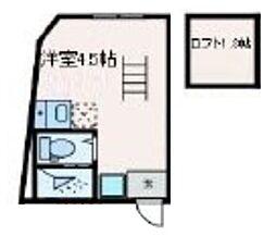 マレーア高円寺 4階ワンルームの間取り