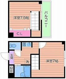 Osaka Metro谷町線 都島駅 徒歩7分の賃貸マンション 2階2Kの間取り
