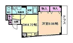 阪急宝塚本線 蛍池駅 徒歩7分の賃貸マンション 1階1DKの間取り