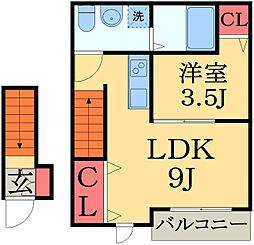 千葉県千葉市中央区宮崎町の賃貸アパートの間取り